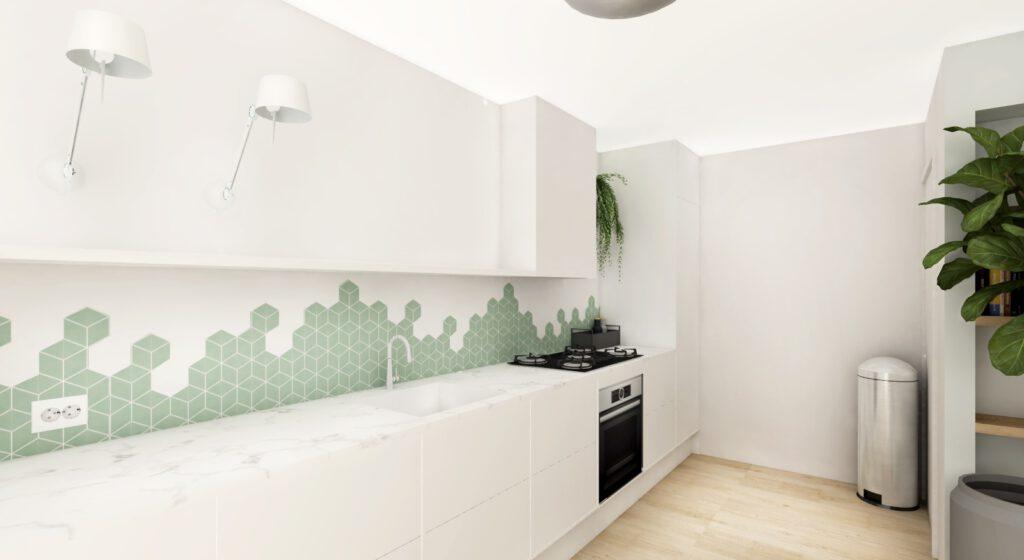 Keuken ontwerp voor interieur ontwerp project. Materialisatie en kleur concept styling. Render for interior design kitchen project. Materialisation, color and styling concept