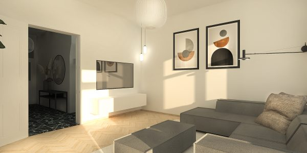 Render voor interieur ontwerp project. Maatwerk, materiaal en kleur styling