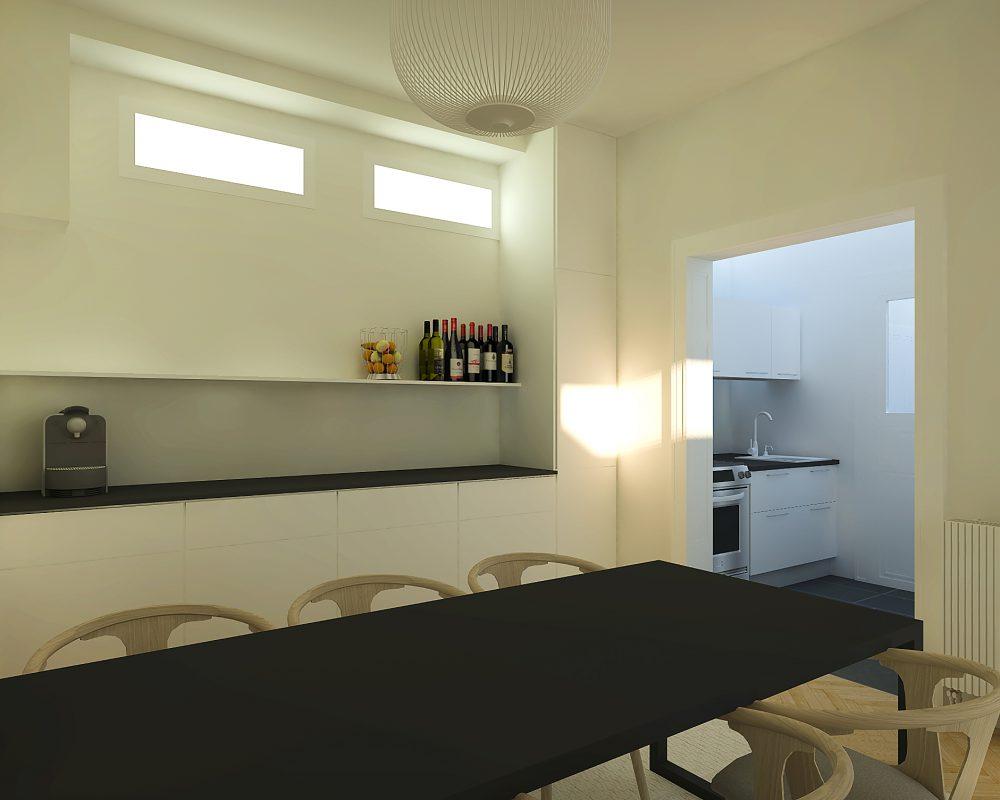 Render van keuken ontwerp, Interieur ontwerp project.